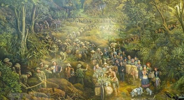 描绘4500个人物的《奠边府》绘画作品亮相 hinh anh 1