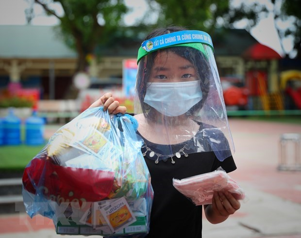 疫情之下 北江省儿童度过特殊的六一儿童节 hinh anh 1