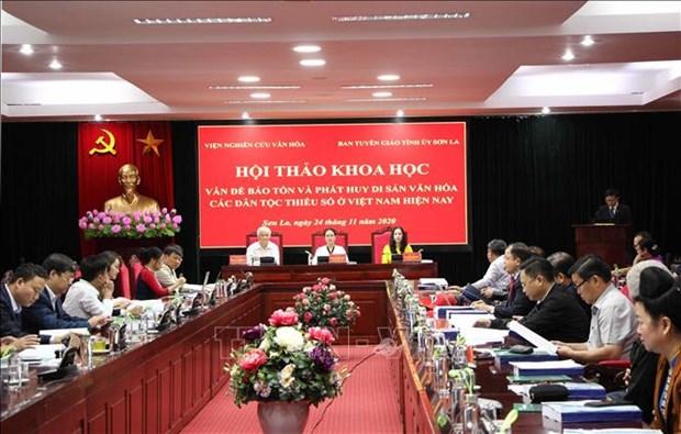 """Hoi thao khoa hoc """"Van de bao ve va phat huy di san van hoa cac dan toc thieu so o Viet Nam hien nay"""" hinh anh 1"""