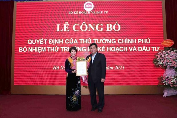 Cong bo quyet dinh bo nhiem ba Nguyen Thi Bich Ngoc lam Thu truong Bo Ke hoach va Dau tu hinh anh 1