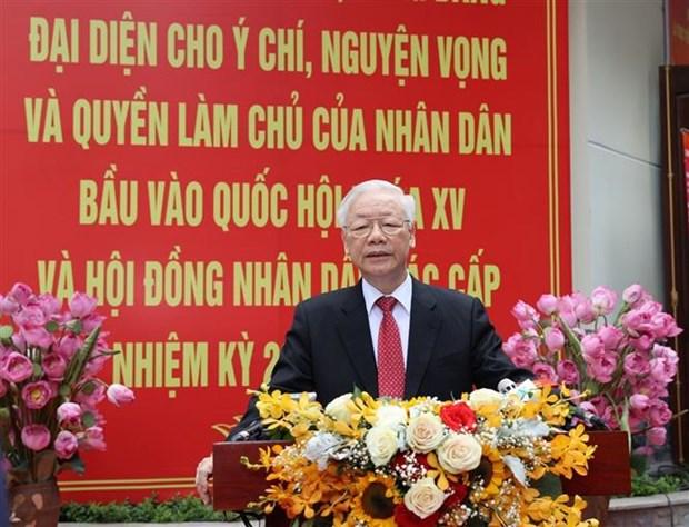 Tong Bi thu Nguyen Phu Trong: Dat nuoc se buoc vao giai doan phat trien moi, dap ung nguyen vong cua cu tri hinh anh 1