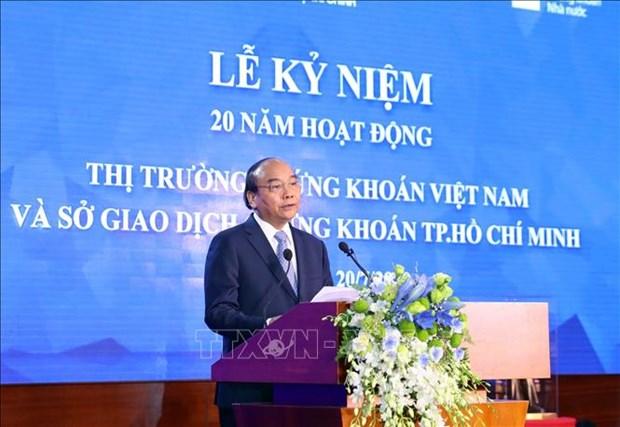 Thu tuong Chinh phu Nguyen Xuan Phuc danh cong ky niem 20 nam hoat dong thi truong chung khoan Viet Nam hinh anh 1