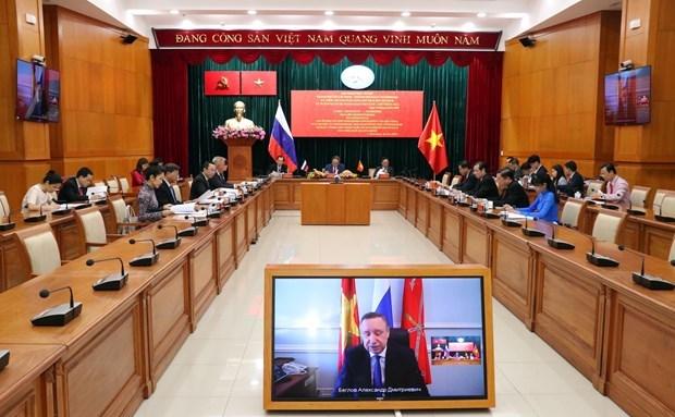 胡志明市与圣彼得堡市会议以视频方式召开 hinh anh 1