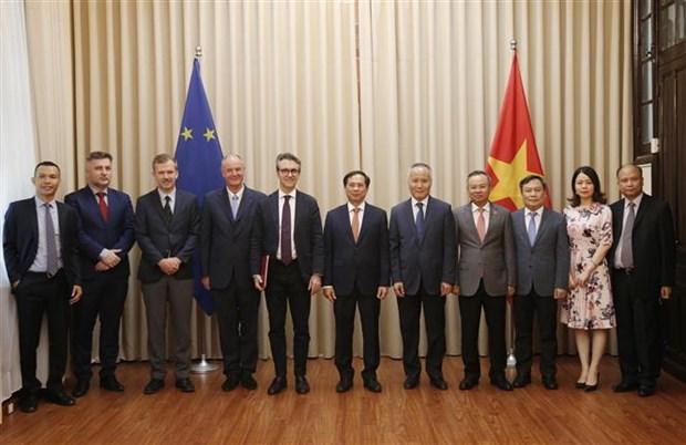 越南代表向欧盟驻河内代表团递交EVFTA和EVIPA的批准文件 hinh anh 2