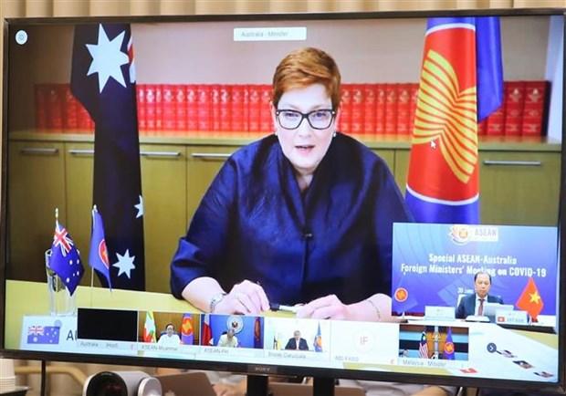 2020东盟轮值主席年:东盟-澳大利亚抗击新冠肺炎疫情部长特别会议以视频方式召开 hinh anh 2