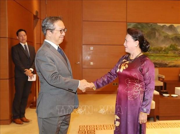 越南国会主席阮氏金银会见日本和柬埔寨驻越大使 hinh anh 1