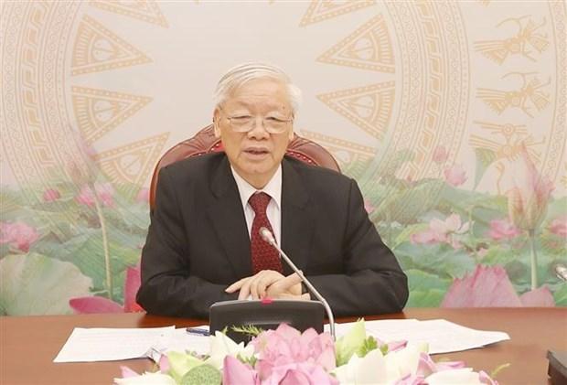 越共中央总书记、国家主席阮富仲与柬埔寨首相、柬埔寨人民党主席洪森通电话 hinh anh 1