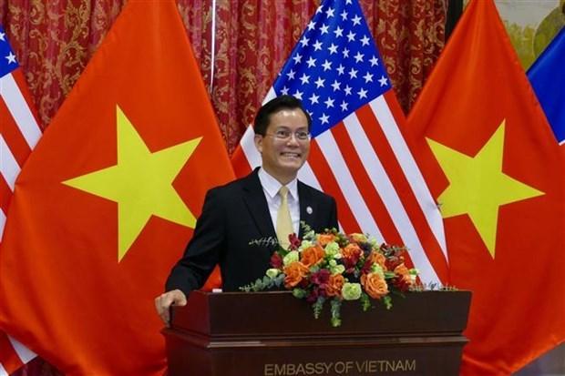 越南驻美国大使馆举行越美建交25周年纪念典礼 hinh anh 1