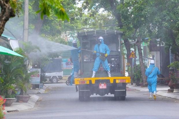 岘港市对高风险感染区进行消毒和环境处理工作 hinh anh 1