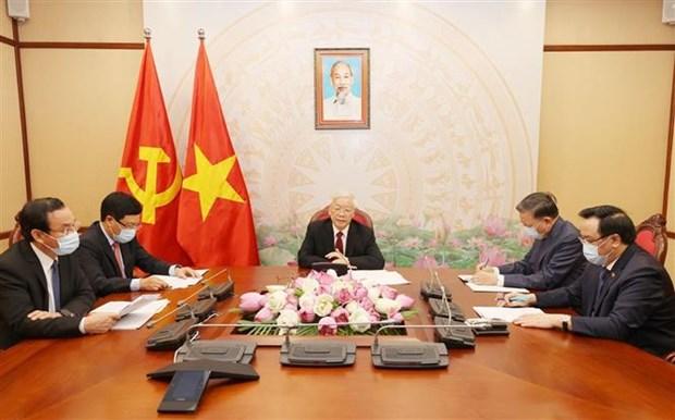 越共中央总书记、国家主席阮富仲与老挝人民革命党中央总书记、国家主席本扬·沃拉吉举行电话会谈 hinh anh 2