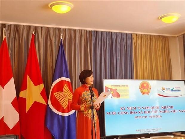 越南驻瑞士大使馆举行活动 庆祝越南国庆节75周年 hinh anh 1