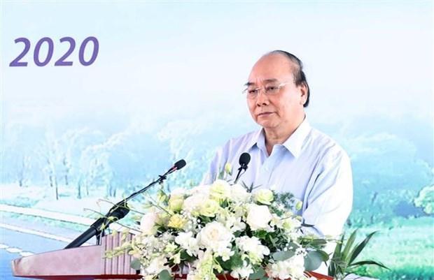 阮春福总理出席梅山高速公路-第45号国道项目开工仪式 hinh anh 1