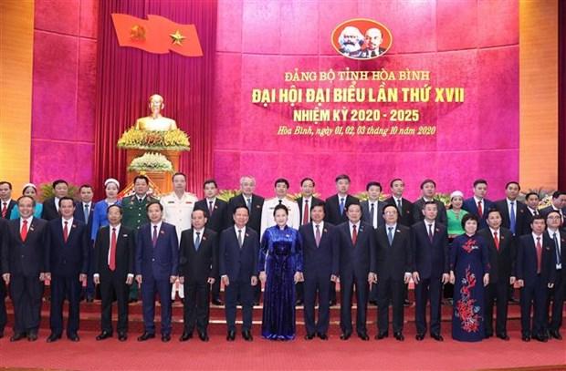 迎接党的十三大:国会主席阮氏金银出席越共和平省第十七次代表大会 hinh anh 3