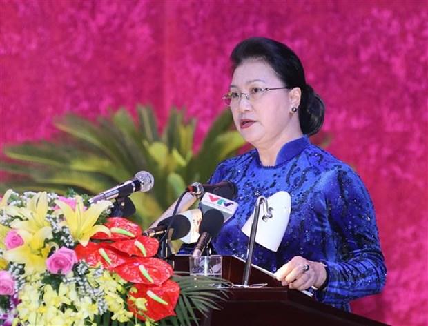 迎接党的十三大:国会主席阮氏金银出席越共和平省第十七次代表大会 hinh anh 2