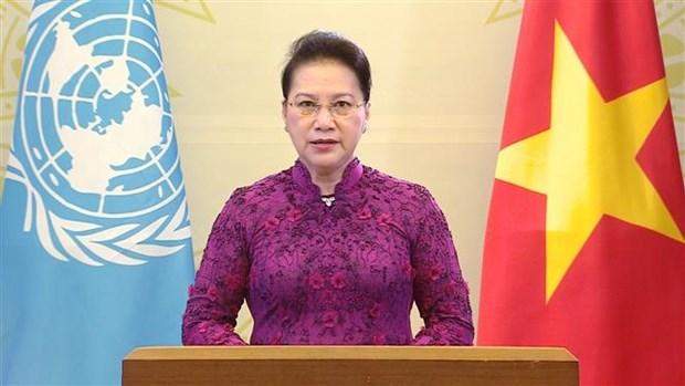 越南国会主席阮氏金银在纪念第四次世界妇女大会25周年高级别会议上通过视频发表讲话 hinh anh 1