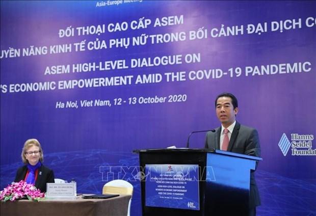 亚欧会议关于妇女经济赋权的高级别对话以视频方式举行 hinh anh 1