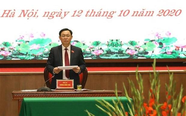 迎接党的十三大:王廷惠同志以100%赞成票再次当选河内市委书记 hinh anh 1