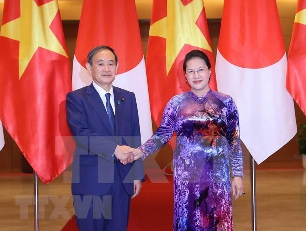 越南国会主席阮氏金银会见日本首相菅义伟 hinh anh 1