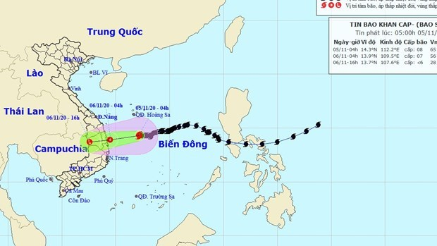 11月6日10号台风减弱为热带低压并登陆广义到庆和各省 hinh anh 1