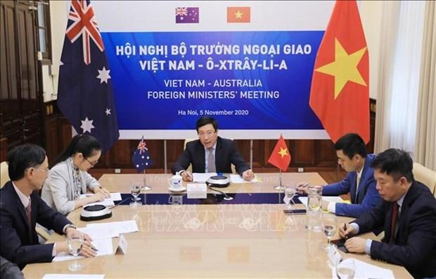 第二次越南与澳大利亚外交部长年度会议以视频形式举行 hinh anh 1