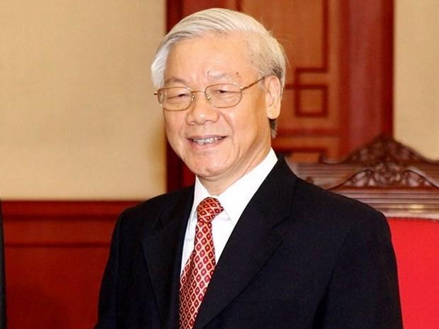 越共中央总书记阮富仲就柬埔寨国庆67周年向柬埔寨国王致贺电 hinh anh 1