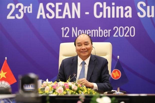 ASEAN 2020: 第23次东盟—中国领导人会议召开 hinh anh 1