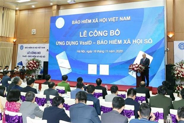 """阮春福总理出席""""数字社会保险——VssID应用程序""""公布仪式 hinh anh 1"""