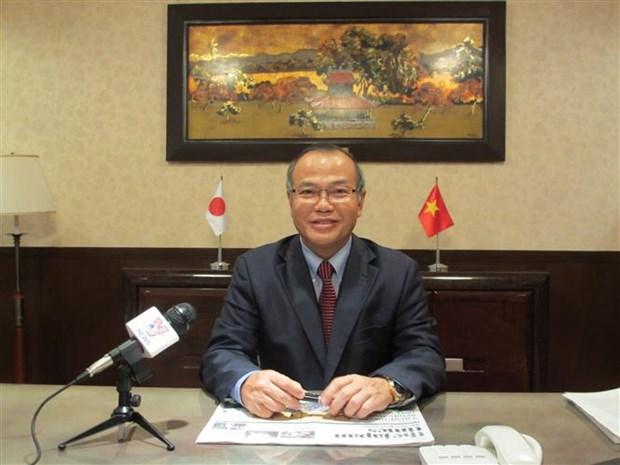 越南驻日本大使馆努力帮助遭受新冠肺炎疫情影响的越南人群体 hinh anh 1