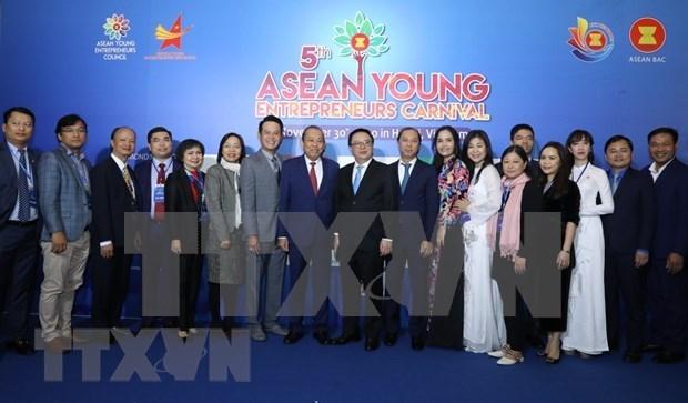 2021年东盟青年企业家协会轮值主席职务交接仪式以视频形式举行 hinh anh 1