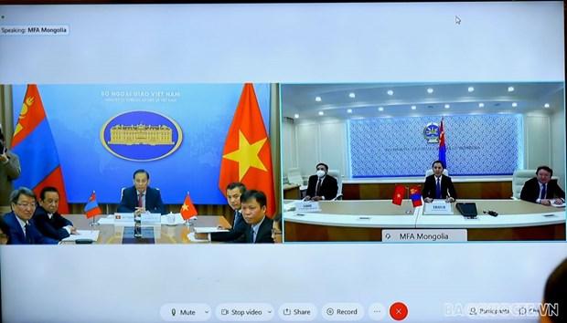 第九次越南-蒙古国外交部副部长级政治磋商以视频方式进行 hinh anh 2