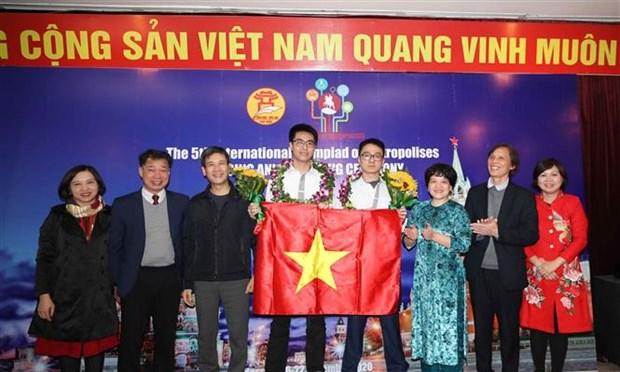 河内学生在IOM奥林匹克竞赛上夺得5金1银2铜 hinh anh 1
