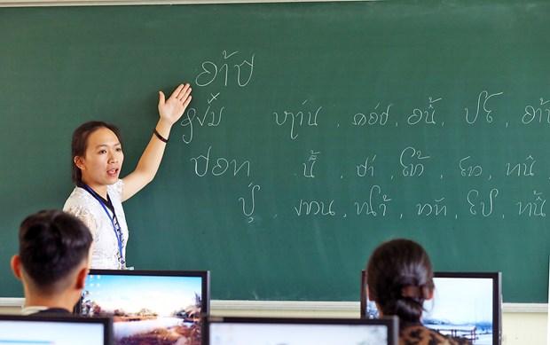 奠边省学生致力保护和发展泰族语言文字 hinh anh 1