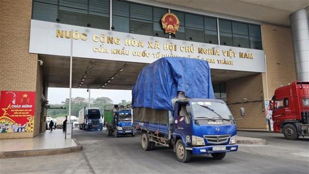 2021年伊始老街金城二号陆路国际口岸货物出口量达逾500吨 hinh anh 2