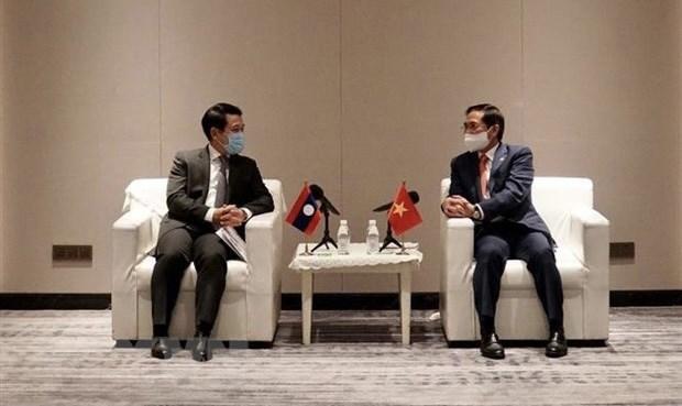 越南外交部长裴青山会见老挝外交部长沙伦赛•贡玛西 hinh anh 1