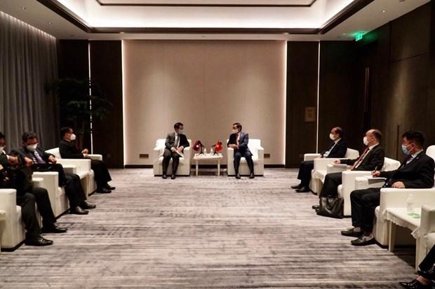 越南外交部长裴青山会见老挝外交部长沙伦赛•贡玛西 hinh anh 2