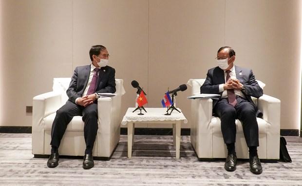 越南外交部长裴青山会见柬埔寨副首相兼外交和国际合作部大臣布拉索昆 hinh anh 1