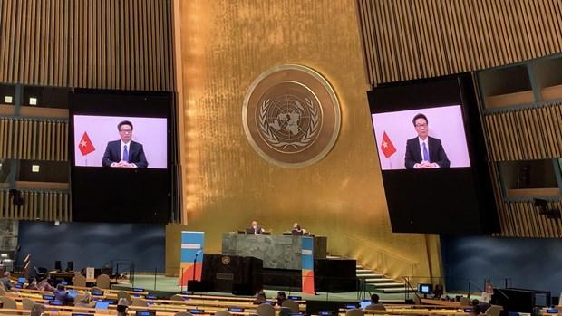 越南在2021年联合国大会艾滋病问题高级别会议上分享经验 hinh anh 1