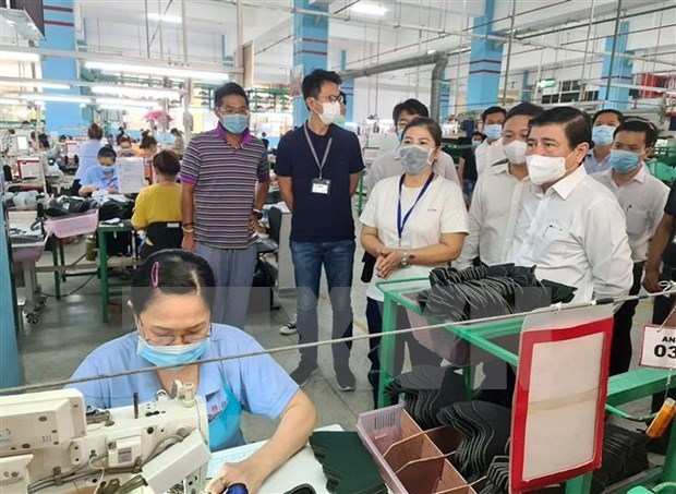 胡志明市坚持与受疫情影响企业共同度过难关 hinh anh 1