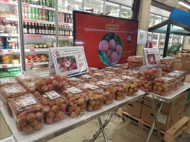 首批带有原产地可追溯标签的清河荔枝在法国超市上架 hinh anh 1