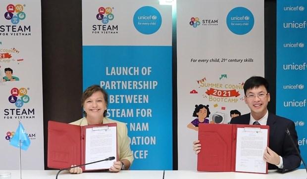 联合国儿童基金会启动提高越南儿童数字化知识和技能的计划 hinh anh 1