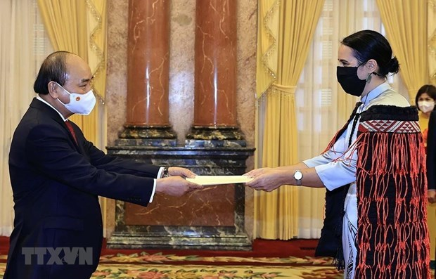 越南国家主席阮春福会见前来递交国书的各国驻越大使 hinh anh 1