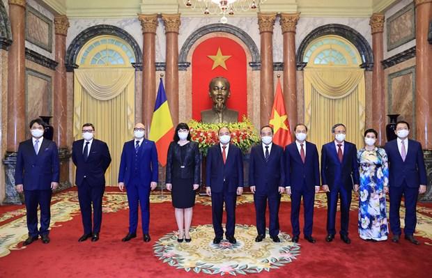 越南国家主席阮春福会见前来递交国书的各国驻越大使 hinh anh 2