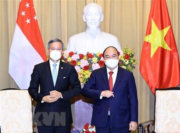 越南国家主席阮春福会见新加坡外长 hinh anh 1