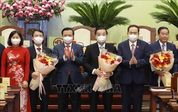 朱玉英和阮玉俊继续当选河内人民委员会主席和人民议会主席 hinh anh 1