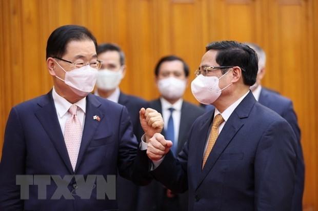 越南政府总理范明政会见韩国外交部长官郑义溶 hinh anh 1