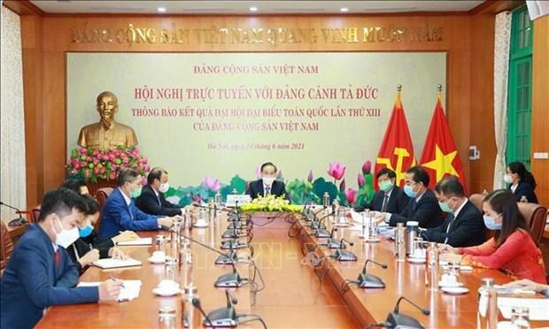举行视频会议向德国左翼党通知越共十三大的结果 hinh anh 1
