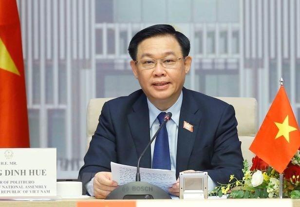 越南国会主席王廷惠与摩洛哥众议院议长哈比博·马勒克举行视频会谈 hinh anh 1
