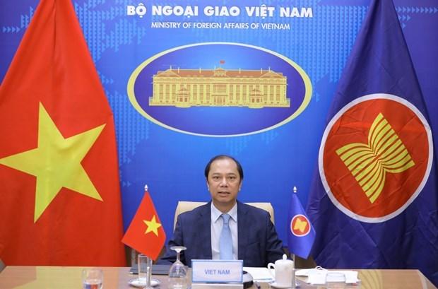 越南副外长阮国勇出席东盟与欧盟高官会视频会议 hinh anh 2