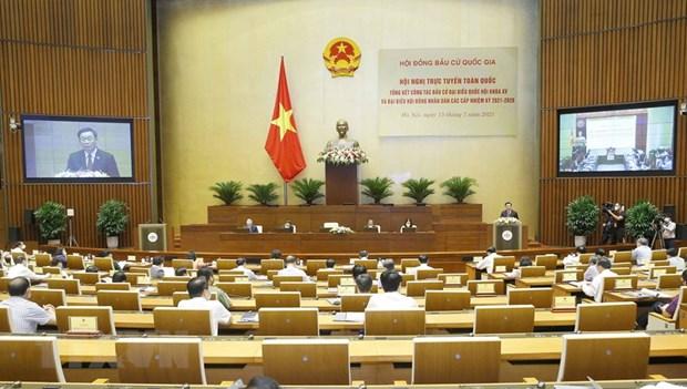 越南国会主席王廷惠主持召开选举工作总结会议 hinh anh 1