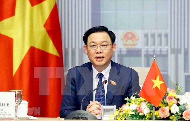 越南国会主席王廷惠与新加坡国会议长陈川仁举行视频会谈 hinh anh 1